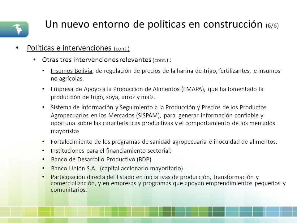 Un nuevo entorno de políticas en construcción (6/6)