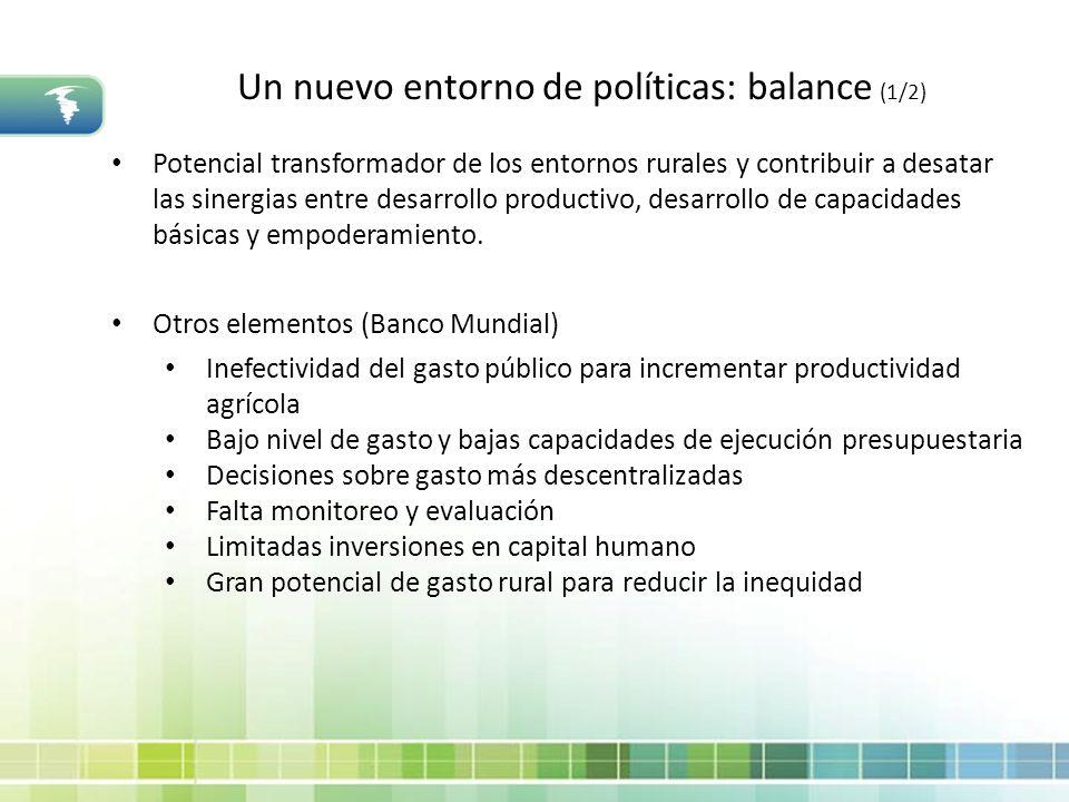 Un nuevo entorno de políticas: balance (1/2)