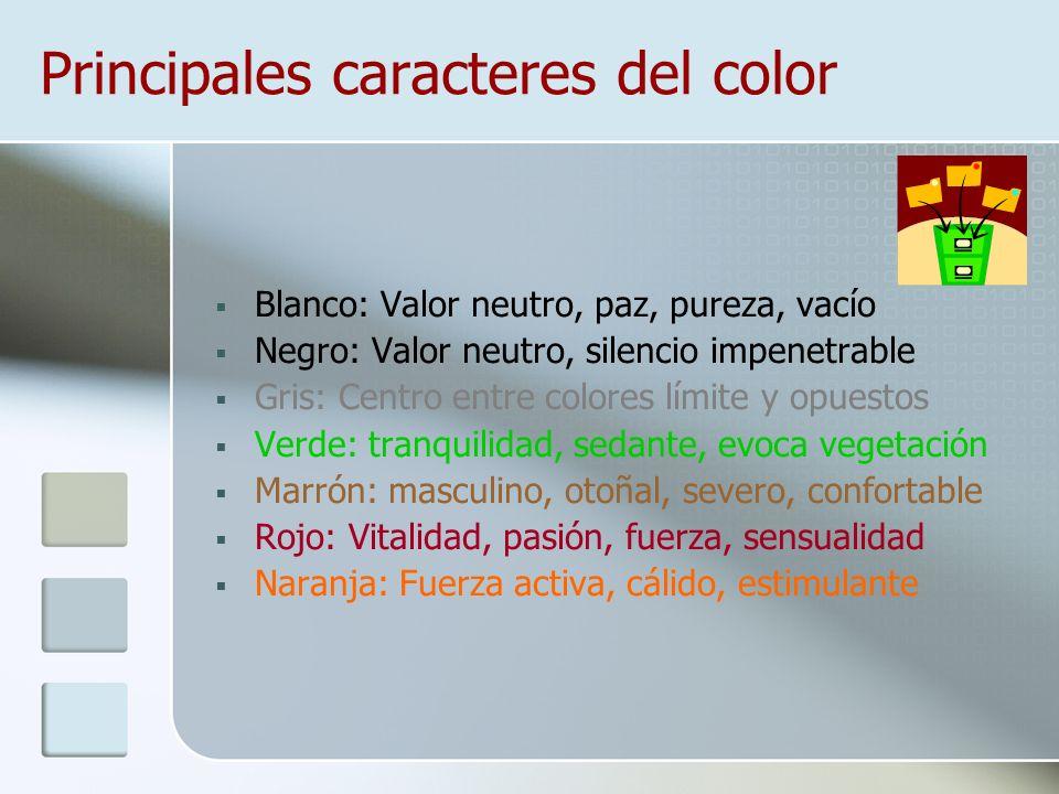 Principales caracteres del color
