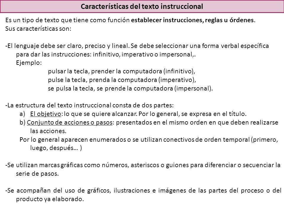 Características del texto instruccional