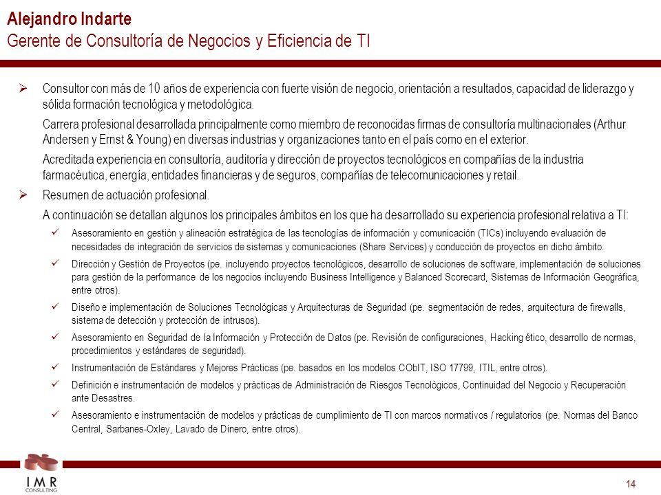 Alejandro Indarte Gerente de Consultoría de Negocios y Eficiencia de TI
