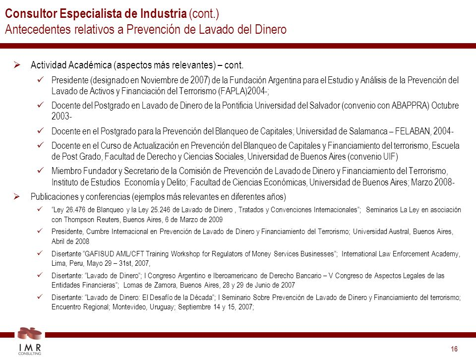 Consultor Especialista de Industria (cont