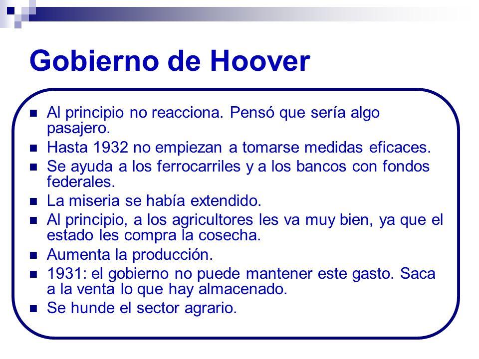 Gobierno de Hoover Al principio no reacciona. Pensó que sería algo pasajero. Hasta 1932 no empiezan a tomarse medidas eficaces.