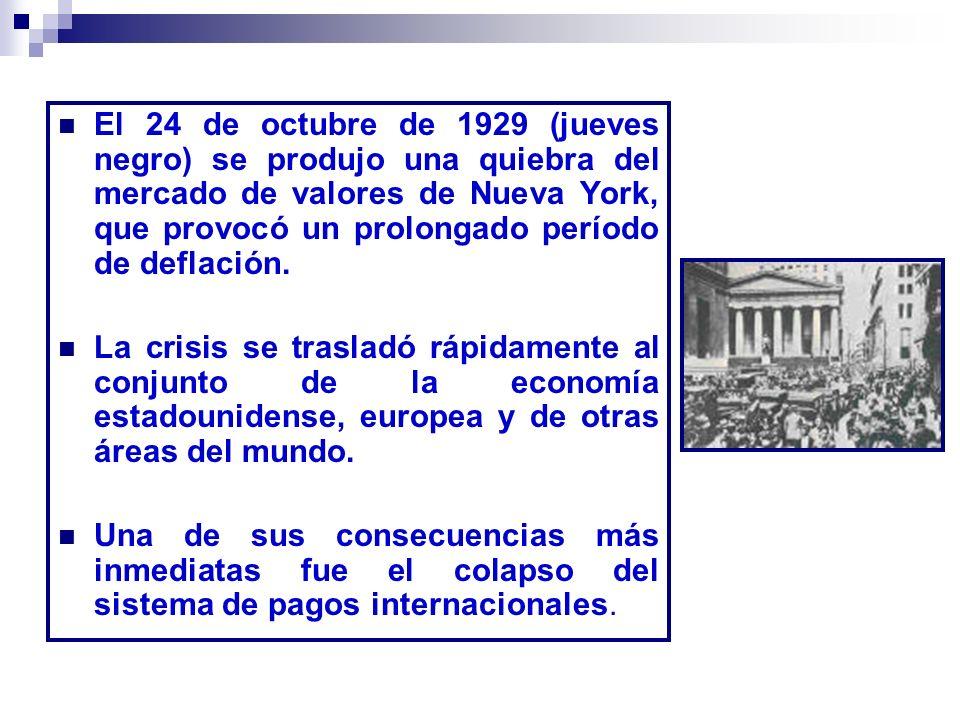 El 24 de octubre de 1929 (jueves negro) se produjo una quiebra del mercado de valores de Nueva York, que provocó un prolongado período de deflación.