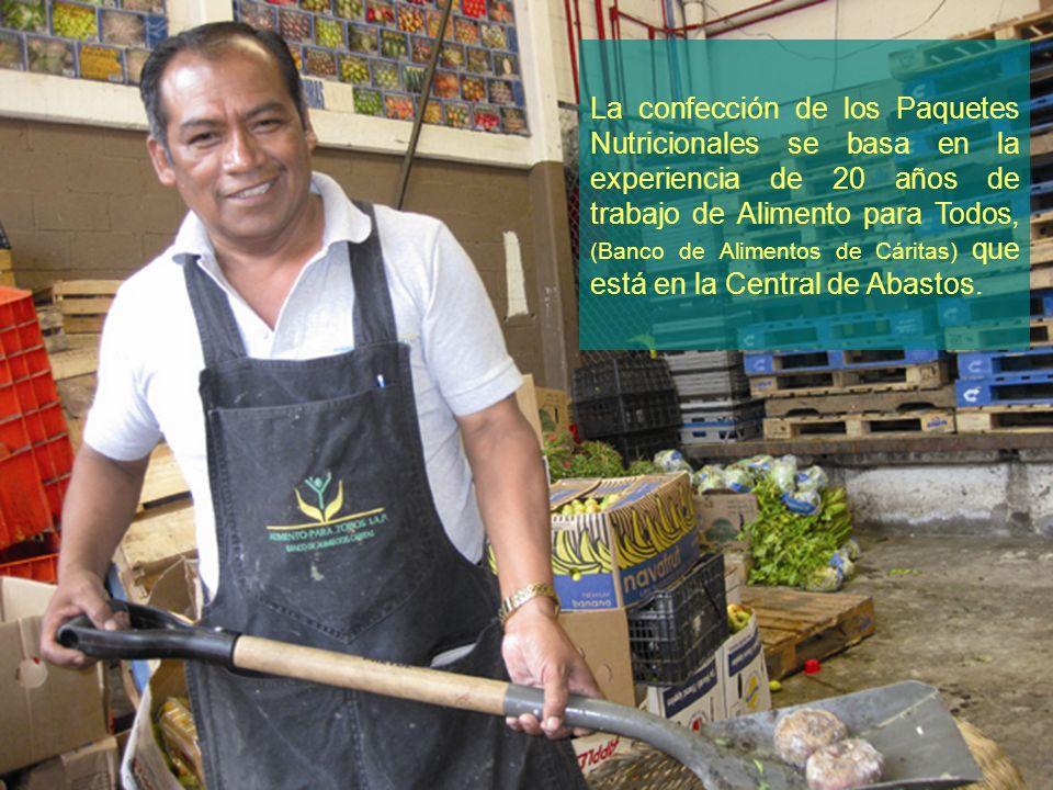 La confección de los Paquetes Nutricionales se basa en la experiencia de 20 años de trabajo de Alimento para Todos, (Banco de Alimentos de Cáritas) que está en la Central de Abastos.