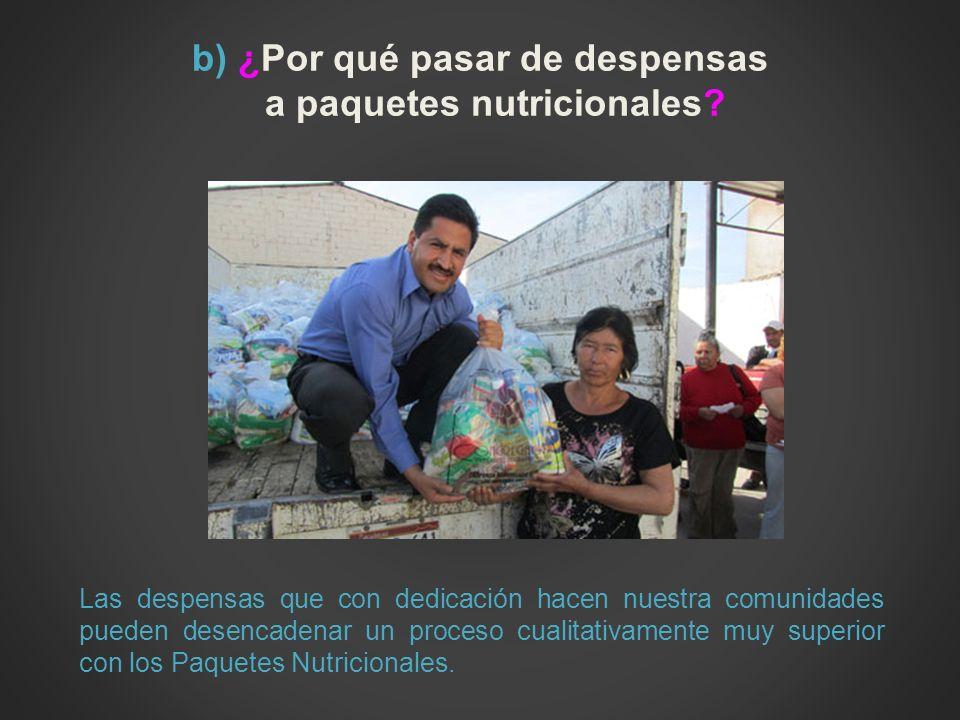b) ¿Por qué pasar de despensas a paquetes nutricionales