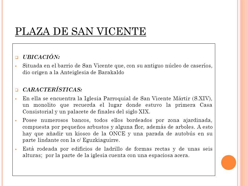 PLAZA DE SAN VICENTE UBICACIÓN: