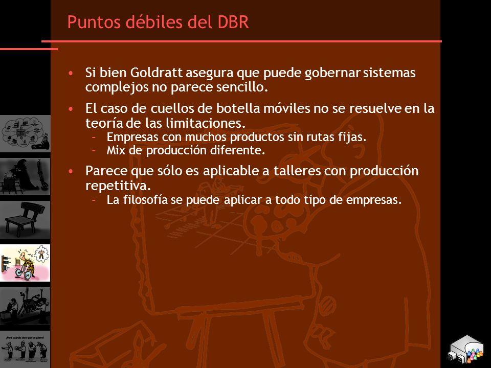 Puntos débiles del DBR Si bien Goldratt asegura que puede gobernar sistemas complejos no parece sencillo.