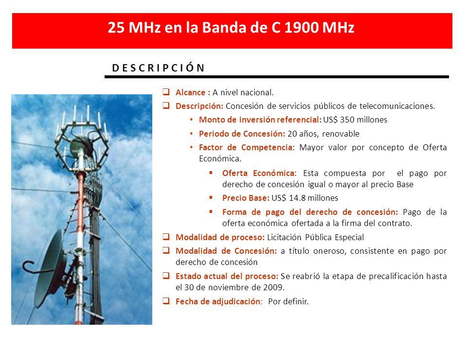 25 MHz en la Banda de C 1900 MHz D E S C R I P C I Ó N