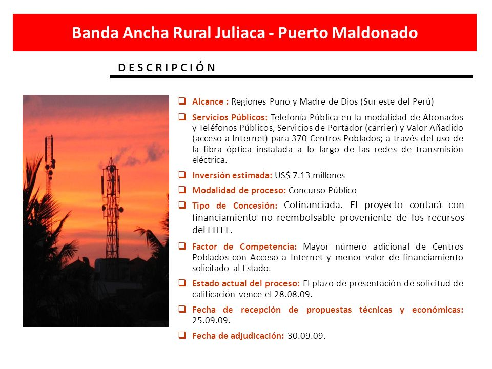 Banda Ancha Rural Juliaca - Puerto Maldonado