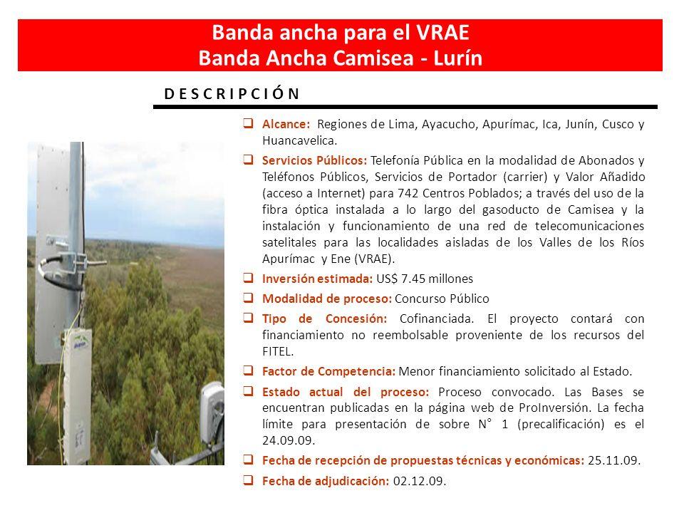 Banda ancha para el VRAE Banda Ancha Camisea - Lurín