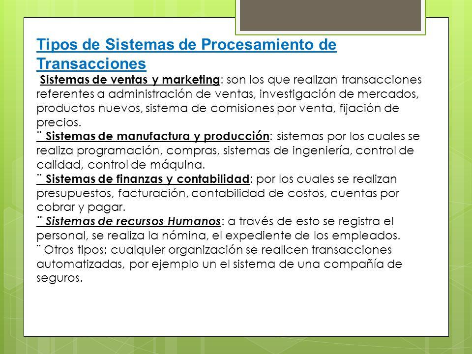 Tipos de Sistemas de Procesamiento de Transacciones