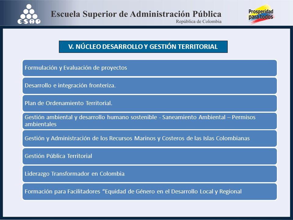 V. NÚCLEO DESARROLLO Y GESTIÓN TERRITORIAL