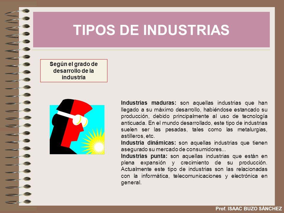 Según el grado de desarrollo de la industria
