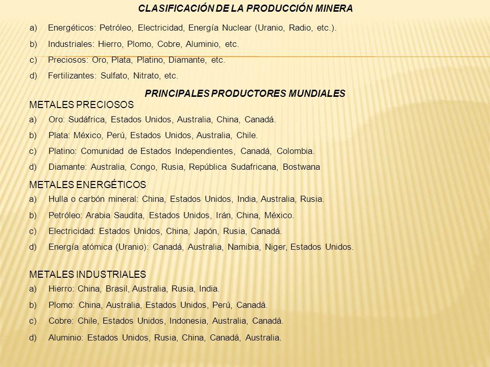 CLASIFICACIÓN DE LA PRODUCCIÓN MINERA