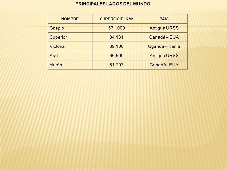 PRINCIPALES LAGOS DEL MUNDO.