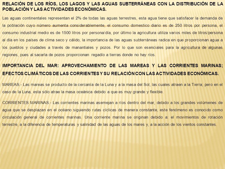 RELACIÓN DE LOS RÍOS, LOS LAGOS Y LAS AGUAS SUBTERRÁNEAS CON LA DISTRIBUCIÓN DE LA POBLACIÓN Y LAS ACTIVIDADES ECONÓMICAS.