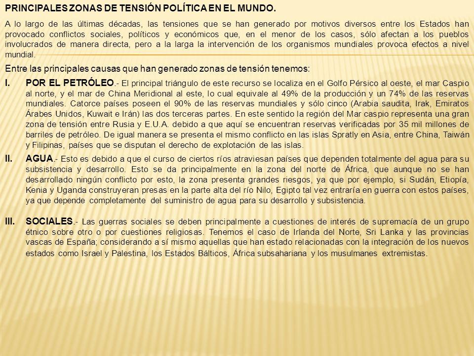 PRINCIPALES ZONAS DE TENSIÓN POLÍTICA EN EL MUNDO.
