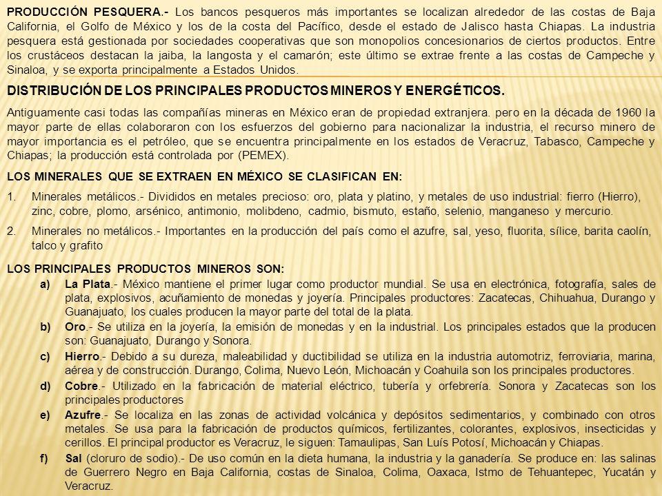 DISTRIBUCIÓN DE LOS PRINCIPALES PRODUCTOS MINEROS Y ENERGÉTICOS.