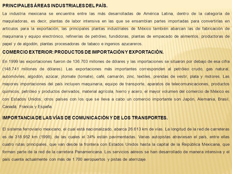 PRINCIPALES ÁREAS INDUSTRIALES DEL PAÍS.
