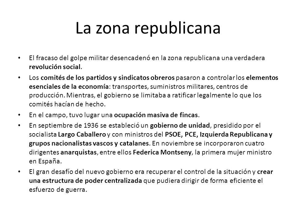 La zona republicana El fracaso del golpe militar desencadenó en la zona republicana una verdadera revolución social.