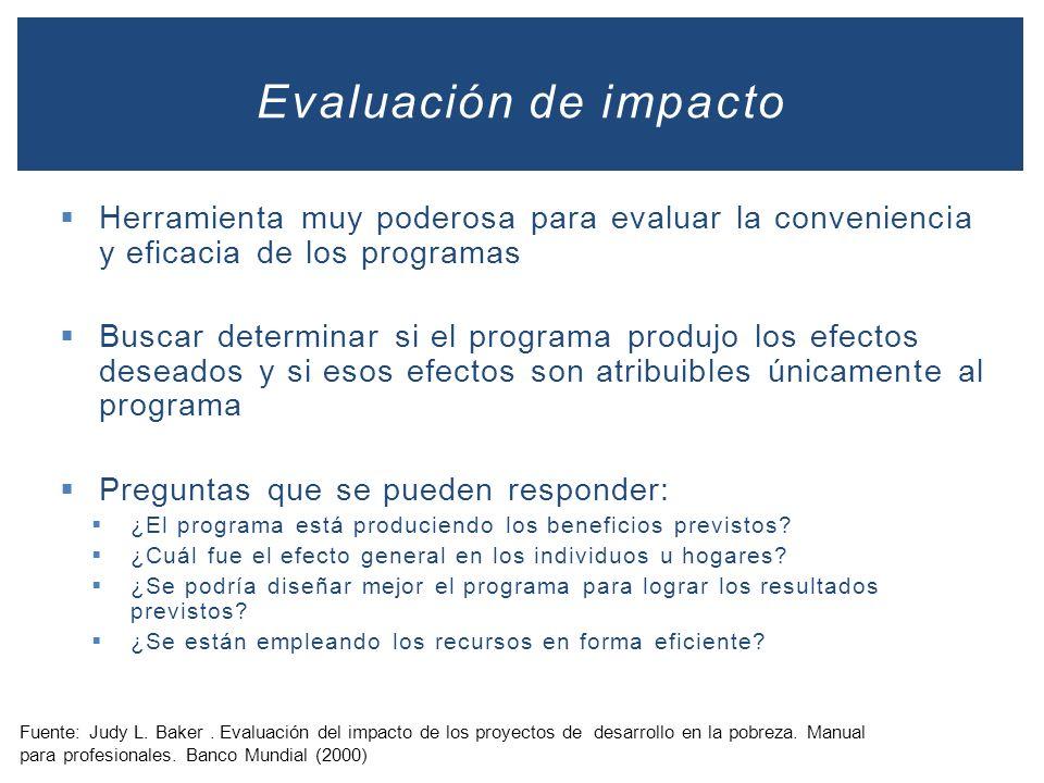 Evaluación de impacto Herramienta muy poderosa para evaluar la conveniencia y eficacia de los programas.