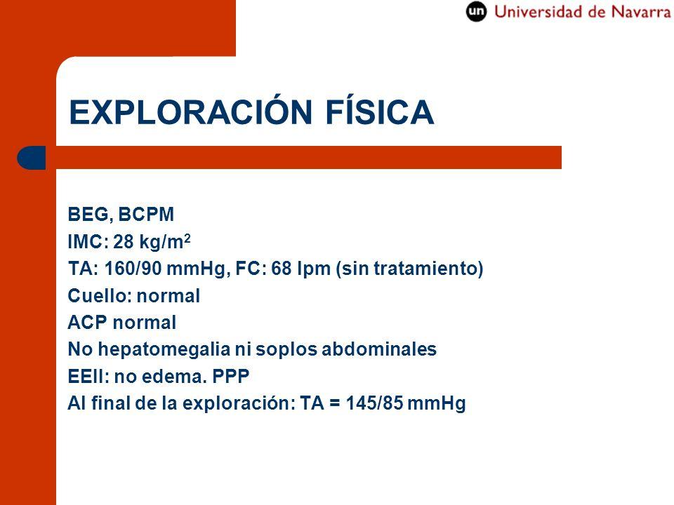 EXPLORACIÓN FÍSICA BEG, BCPM IMC: 28 kg/m2