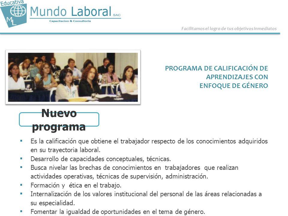 Nuevo programa PROGRAMA DE CALIFICACIÓN DE APRENDIZAJES CON
