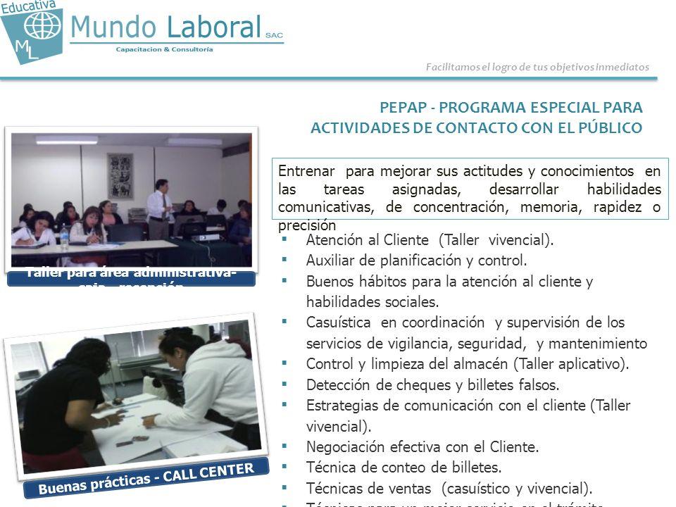 PEPAP - PROGRAMA ESPECIAL PARA ACTIVIDADES DE CONTACTO CON EL PÚBLICO