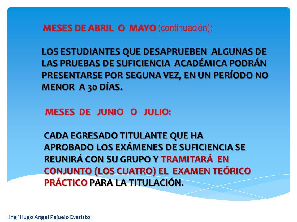 MESES DE ABRIL O MAYO (continuación):