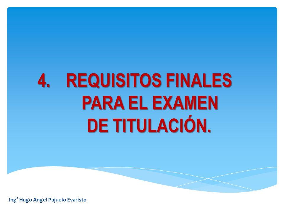 REQUISITOS FINALES PARA EL EXAMEN DE TITULACIÓN.