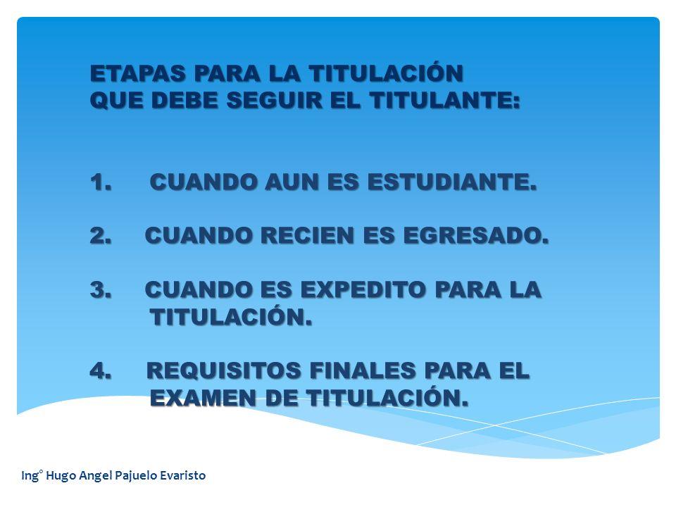 ETAPAS PARA LA TITULACIÓN QUE DEBE SEGUIR EL TITULANTE: