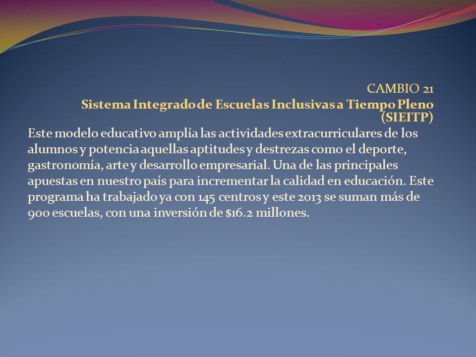 CAMBIO 21 Sistema Integrado de Escuelas Inclusivas a Tiempo Pleno (SIEITP) Este modelo educativo amplía las actividades extracurriculares de los.