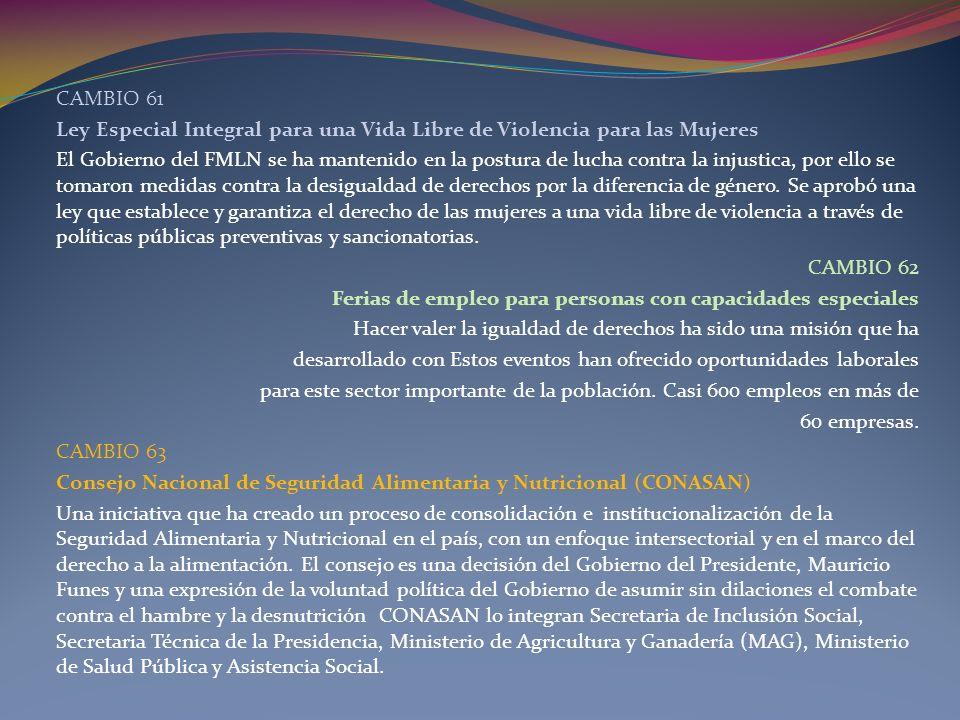 CAMBIO 61 Ley Especial Integral para una Vida Libre de Violencia para las Mujeres.