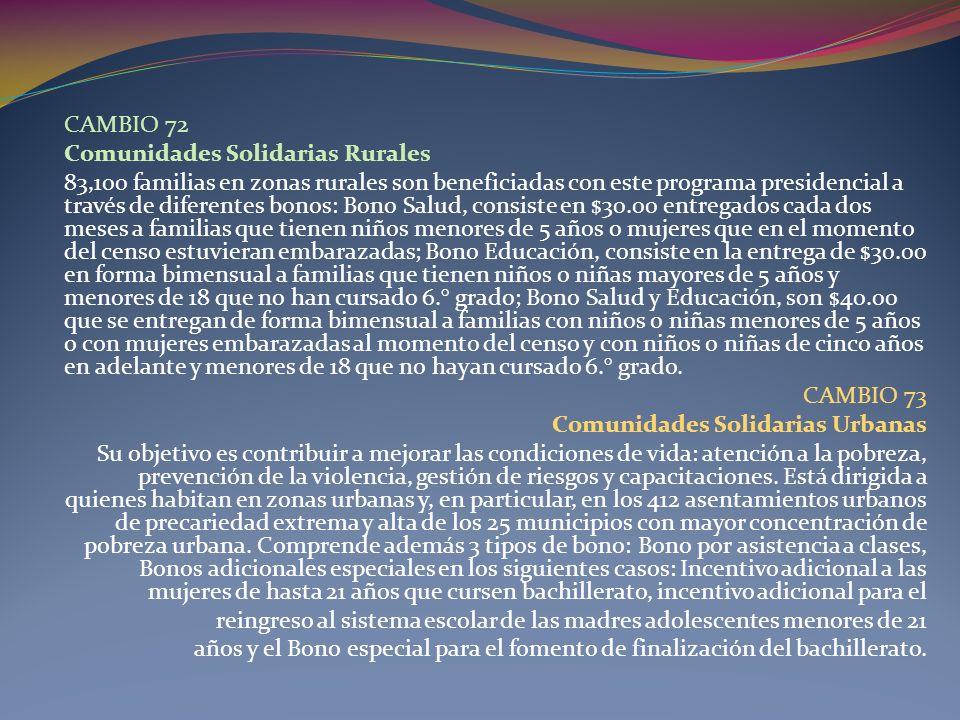 CAMBIO 72 Comunidades Solidarias Rurales.