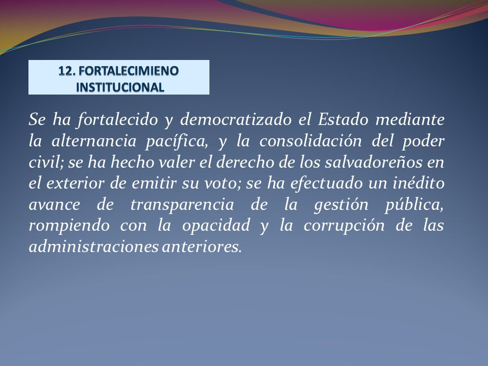 12. FORTALECIMIENO INSTITUCIONAL