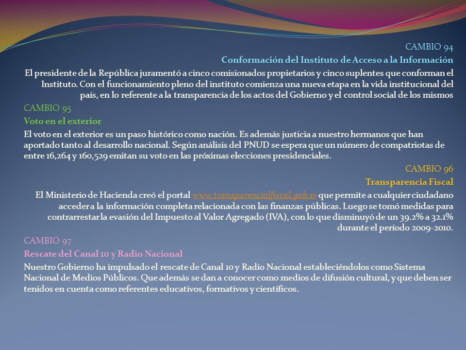 CAMBIO 94 Conformación del Instituto de Acceso a la Información.