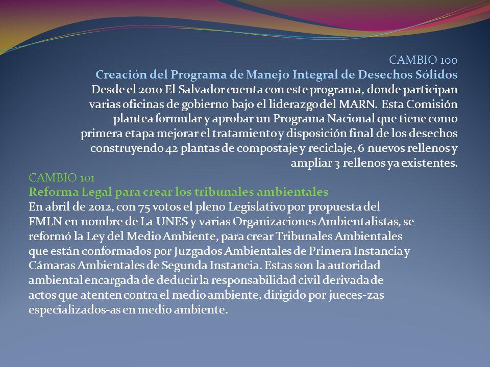 CAMBIO 100 Creación del Programa de Manejo Integral de Desechos Sólidos. Desde el 2010 El Salvador cuenta con este programa, donde participan.