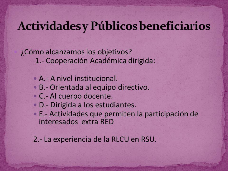 Actividades y Públicos beneficiarios