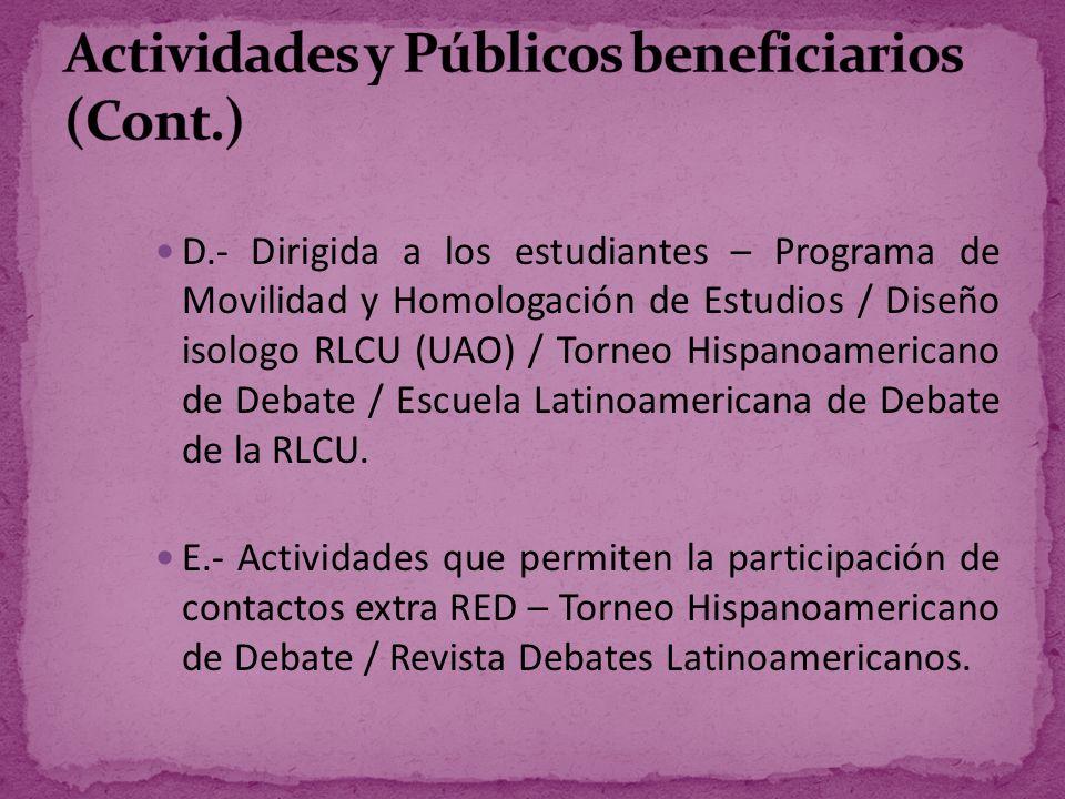 Actividades y Públicos beneficiarios (Cont.)