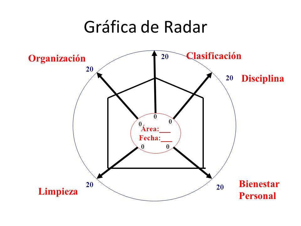 Gráfica de Radar Clasificación Organización Disciplina Bienestar