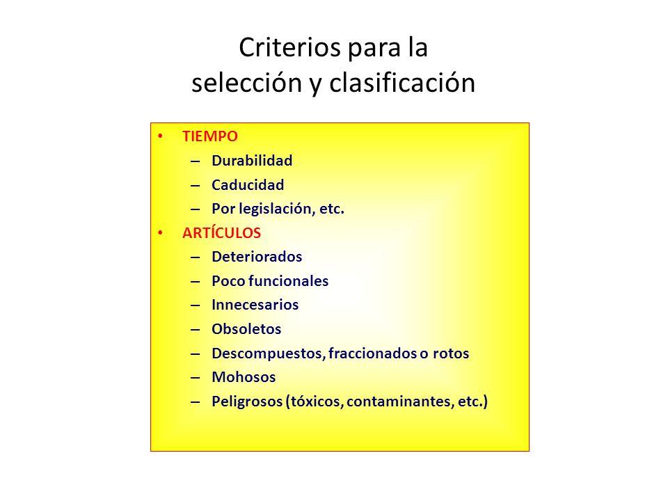 Criterios para la selección y clasificación