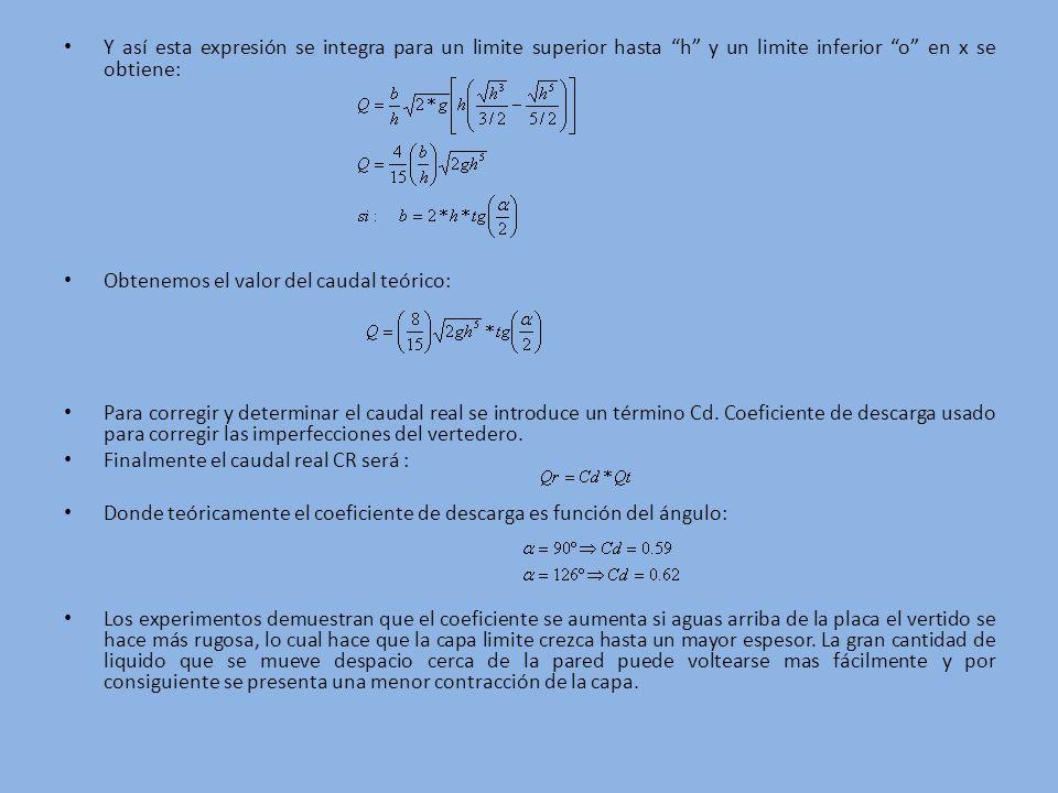 Y así esta expresión se integra para un limite superior hasta h y un limite inferior o en x se obtiene: