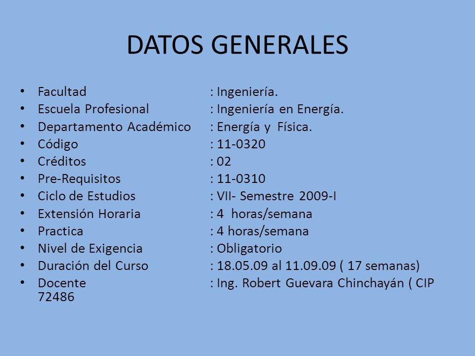 DATOS GENERALES Facultad : Ingeniería.