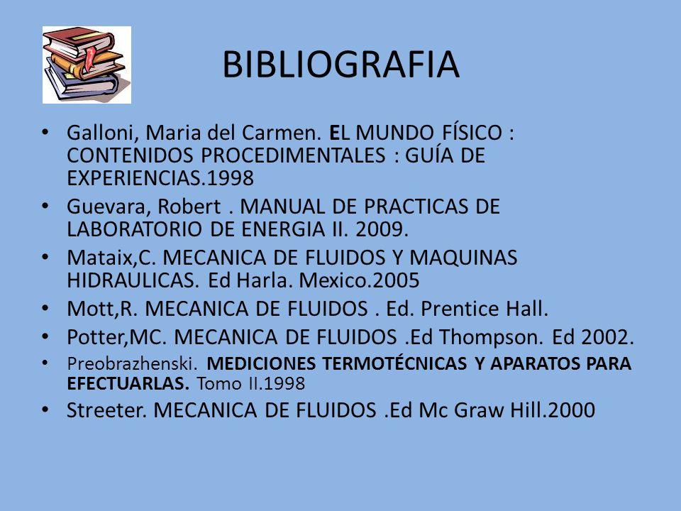 BIBLIOGRAFIAGalloni, Maria del Carmen. EL MUNDO FÍSICO : CONTENIDOS PROCEDIMENTALES : GUÍA DE EXPERIENCIAS.1998.