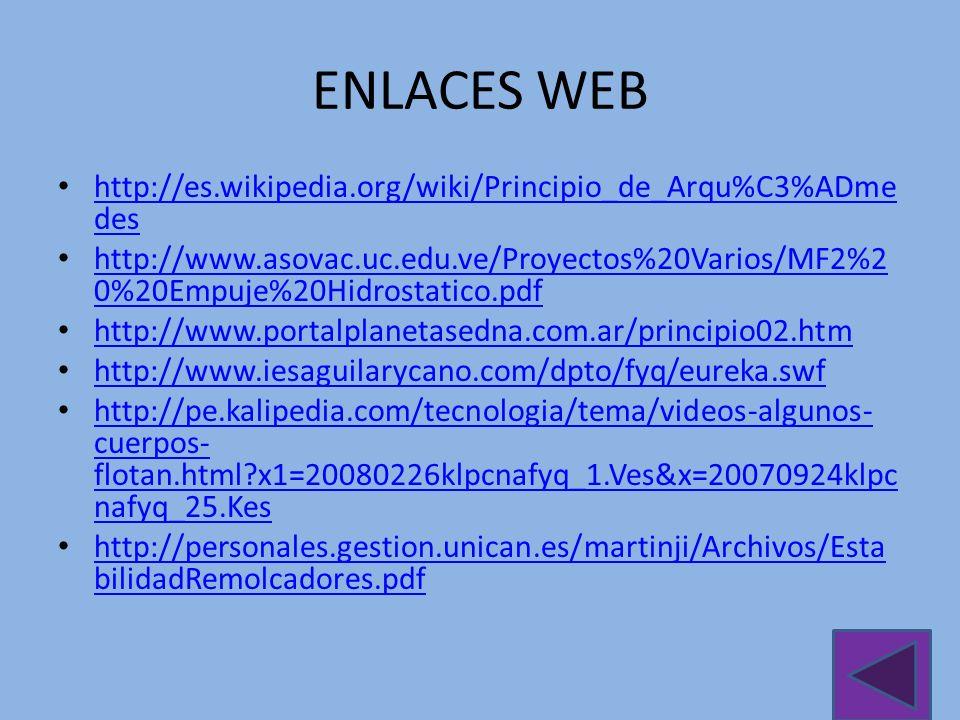 ENLACES WEB http://es.wikipedia.org/wiki/Principio_de_Arqu%C3%ADmedes
