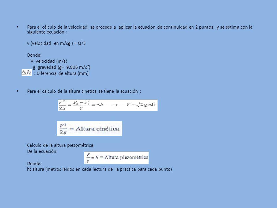 Para el cálculo de la velocidad, se procede a aplicar la ecuación de continuidad en 2 puntos , y se estima con la siguiente ecuación :