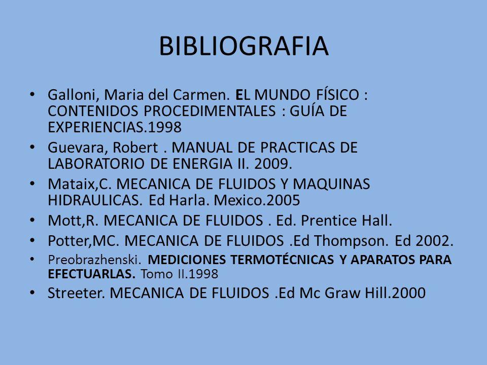 BIBLIOGRAFIA Galloni, Maria del Carmen. EL MUNDO FÍSICO : CONTENIDOS PROCEDIMENTALES : GUÍA DE EXPERIENCIAS.1998.
