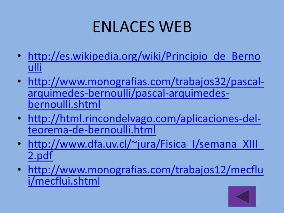 ENLACES WEB http://es.wikipedia.org/wiki/Principio_de_Bernoulli