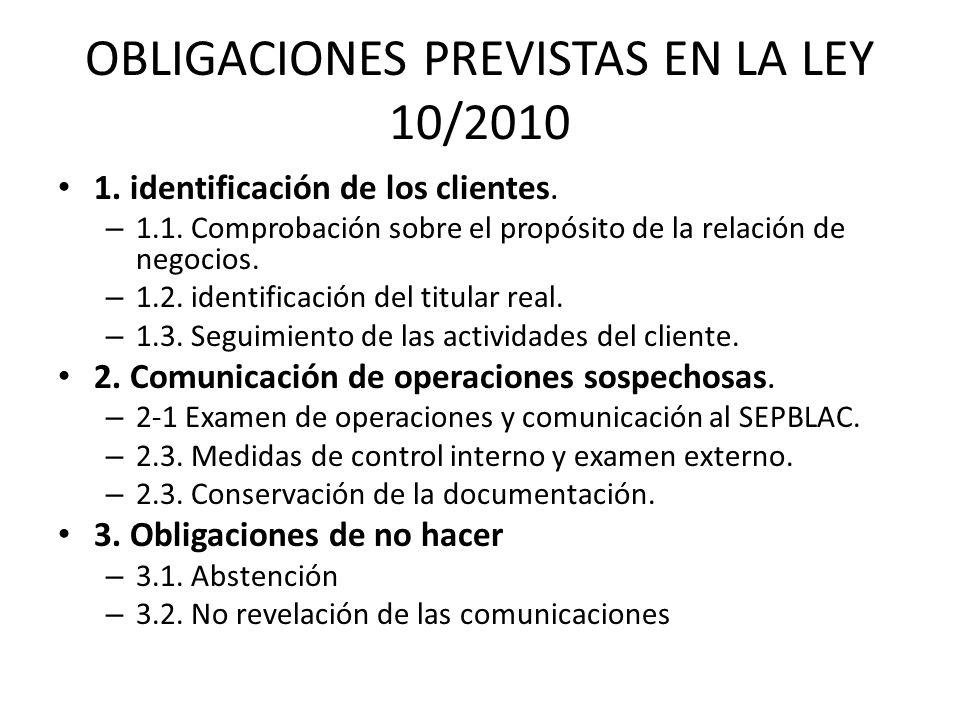 OBLIGACIONES PREVISTAS EN LA LEY 10/2010